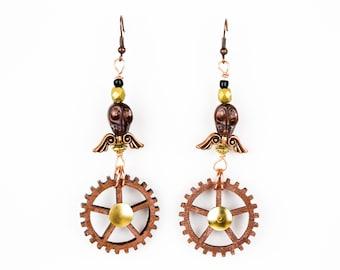 Steampunk Copper Skull Gear Dangle Earrings