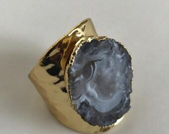 Natural agate slice ring