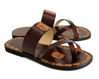Leather Men Slides, Handmade Sandals With Imprints, Hand Painted Leather Unisex Sandals With Design - VALOR II