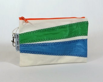 Recycled Sails Nautical Purse Zipper Pouch Clutch Nautical Gift Bridesmaid Bag Sailbag White Bag, Green Bag, Blue Bag, Orange Bag (Z1)