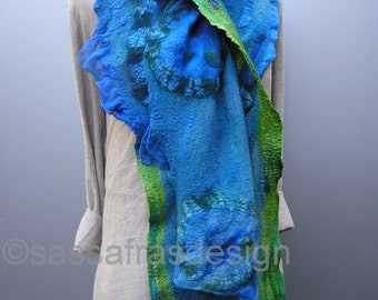 Bluegreen hand felted, hand dyed scarf, shawl, OOAK wearable art accessory, women's bohemian fashion accessories, handmade fiber art scarf