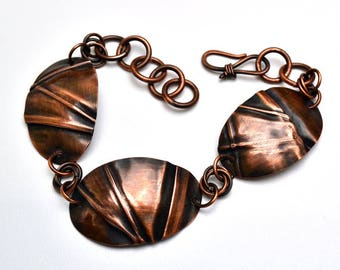 Copper Foldformed Oval Disks Bracelet