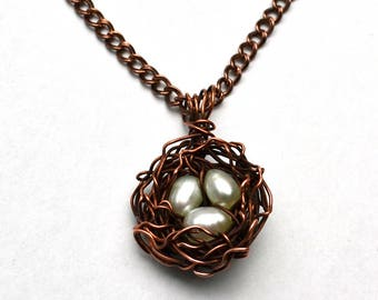 Bird's Nest Copper Wire Pendant Necklace Three White Pearls