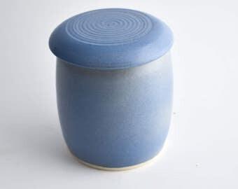 Blue Kitchen Jar - Grease Jar - Lidded Pot - Small Blue jar - Ceramic Jar - Ceramic Lidded Pot - Pottery Pot - Light Blue Jar