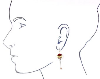 Deep red glass and gold earrings