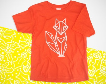 Kids Origami white Fox Handprinted T-shirt. gift. special occasion