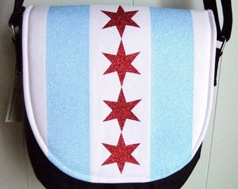Chicago Flag Saddle Bag / Cross-body Purse / Swoon Sandra