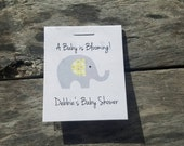 Personalized MINI Elephant Baby Shower Party Flower Seeds Packet Favors Gray and Yellow Wildflower Seed Cute Little Favors