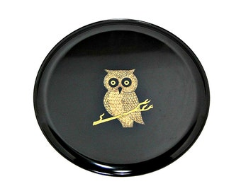 1970s Couroc Owl Tray Monterey California Iconic Midcentury Serving Ware 70s Vintage Barware Impervious Finish