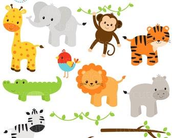 Safari Animals Clipart Set - clip art set of giraffe, tiger, monkey, hippo, crocodile - personal use, small commercial use, instant download