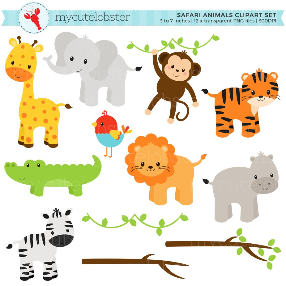 Safari Animals Clipart Set clip art set of giraffe tiger