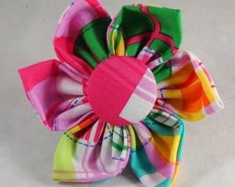 Dog Flower, Dog Bow Tie, Cat Flower, Cat Bow Tie - Pink Madras Patch