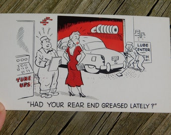 1950's 60's Original Magazine or Greeting Cards Risque Cartoon That reads Had Your Rear End Been Greased Lately  ?