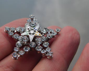 Vintage Silver and Rhinestone Star Pin Order of the Eastern Star dr15