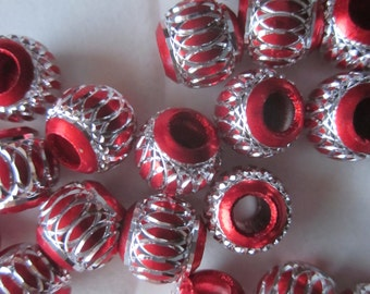 Red and Silver Aluminum Beads 8mm 14 Beads