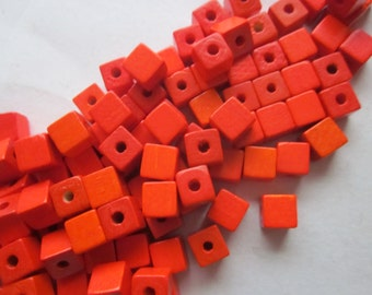 Orange Wood Cube Beads 6x6mm 20 Beads