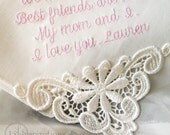 Mother of the Bride Handkerchief IVORY Cotton  Personalized Mom Embroidered Wedding Handkerchief for Mother of Bride Gift 9301