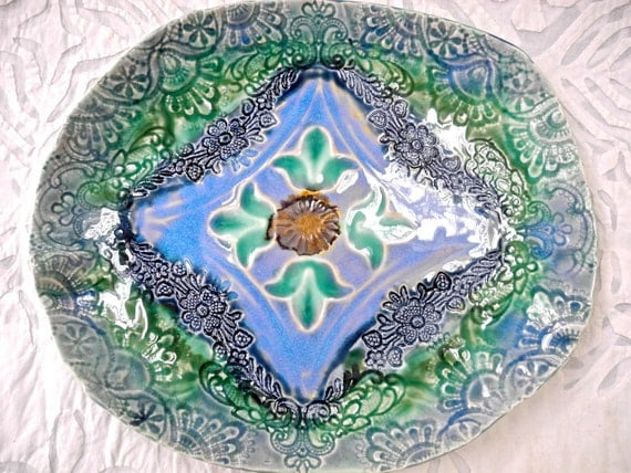 Blue Green Platter, Serving Platter, Lace Platter, Lace Pottery, Serving Platter, Textured Pottery, Moroccan Decor, Decorative Pottery