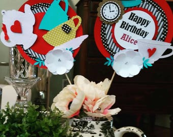 Alice in Wonderland Centerpieces- Tea Party- Birthday- Custom Colors Available