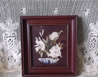 1940s Vintage Turner flower picture, framed picture, creamy white and burgundy