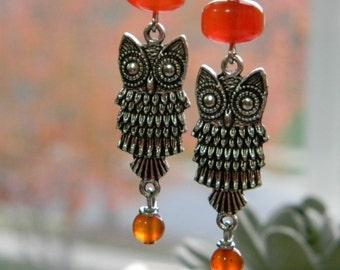 Owl earrings gift for bird lover carnelian orange earrings beaded jewelry beaded earrings gift for her songbird cabin designs gemstone