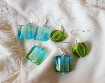15% OFF Set of turquoise and green glass earrings, three pairs, dangle, fresh green, baby blue, ombre, squares and circle, simple, elegant