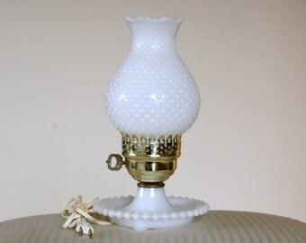 Vintage Hurricane Lamp, Milk Glass Lamp, Milk Glass Light, Small Hobnail Lamp
