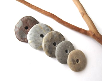 Rock Donut Beads Mediterranean Pebble Beach Stone Spacers Center Drilled Natural Stone Cairn River Stone Beads GRAY WHEELS 19-27 mm