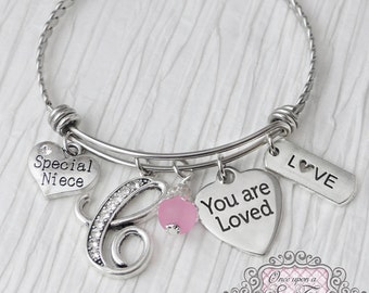 Niece Jewelry, Special Niece Bracelet, Bangle Bracelet, You are Loved Charm, Gifts for Niece, From Aunt or Uncle, Personalized Bangle, Love