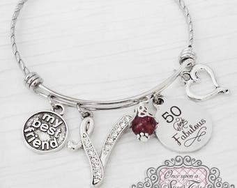 50th Birthday Gifts for Women, My Best Friend, Birthday Jewelry, Friendship Bracelet, Friend, Personalized Bangle- Best Friend Jewelry, 40th