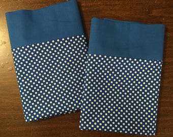 Blue and white polka dot Pillow Case  Set Standard/queen solid blue cuff