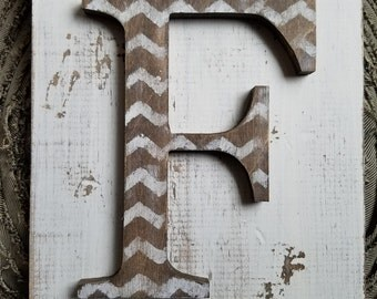 Chevron Hanging Rustic letter F sign- Wall hanging letter READY TO SHIP F Wedding gift teacher gift