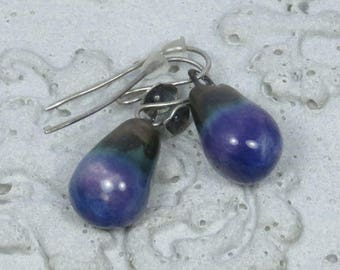 Ceramic drops (BLUE) on silver earhooks with tine flowers