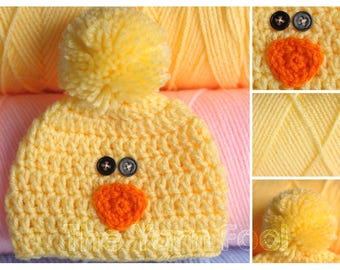 Baby Chick Hat -Newborn, Infant, Toddler, Youth, and Adult Sizes
