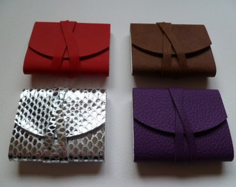 4 x MINI Leather Journals Leather Notebooks Leather Books. Bright Red. Silver. Purple. Speckled Brown.