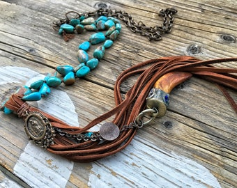 Turquoise Bohemian Necklace, Soft Leather Tassel, Religious Metal, Rustic Turquoise Necklace, Cowgirl Chic Necklace