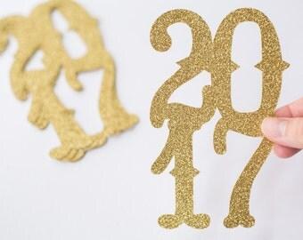 12 Gold Glitter //  Jumbo Graduation Confetti // 2017 // Party Decorations // Grad // Prom // 12 pieces // 5.5 inches