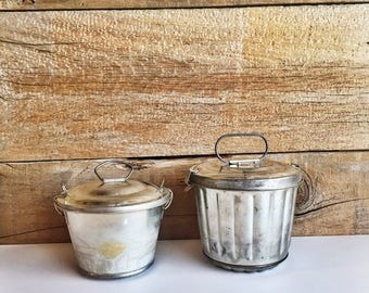 Two metal bunt tins. Jello tin bucket mold. Made in Germany molds with lid.