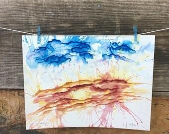 Lurking - Original watercolor 9inx12in