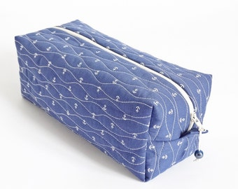Dopp Kit Nautical Bag, Man Shaving Bag, Blue Anchor Fabric Pouch Zippered, Travel Toiletry Bag Gift for Brother