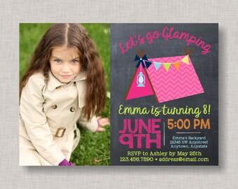 Glamping Birthday Invitation, Glamping Invitation, Glamping Party, Glamping Birthday, Camping Invitation, Chalkboard, Tween Birthday