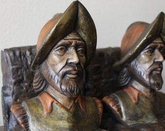 Vtg Fisherman Bookends Sea Captain Nautical