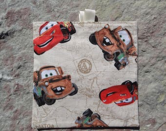 Lightning McQueen and Mater Cars Reusable Sandwich Bag, Reusable Snack Bag, Washable Treat Bag with easy open tabs