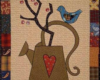 Quilt Pattern, Folk Art Quilt Pattern, Wall Hanging, Applique Pattern, Edyta Sitar Quilts, Mini Quilt Pattern, Bird Pattern, PATTERN ONLY