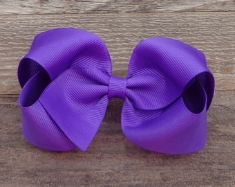 Purple Hair Bow~Basic Boutique Hair Bow~Large Hair Bow~Solid Color Hair Bow~Simple Boutique Bow~School Hair Bow~Boutique Bows~Dance Hair Bow