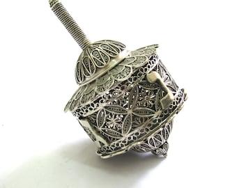 Hanukkah Box Dreidel, 925 Sterling Silver, Artisan, Filigree, Hanukkah Gift, Exclusive Jewish Gift, Judaica - Free Express Shipping ID948
