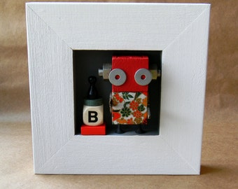 Robot Assemblage - B is for - Wall Art - Robot Art by Jen Hardwick