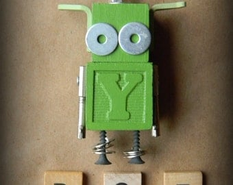 Robot Ornament - Little Green Bot - Y Bot - Upcycled Ornament - Hanging Decor by Jen Hardwick