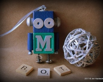 Robot Ornament- M Bot - Seattle Mariners Bot - Upcycled Ornament - Hanging Decor by Jen Hardwick