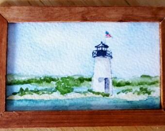 Original Miniature Painting in Watercolor - Ladies Delight - Maine
